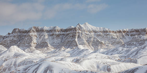 Winter Badlands Snow Covered Mountains - Monochrome stock photo