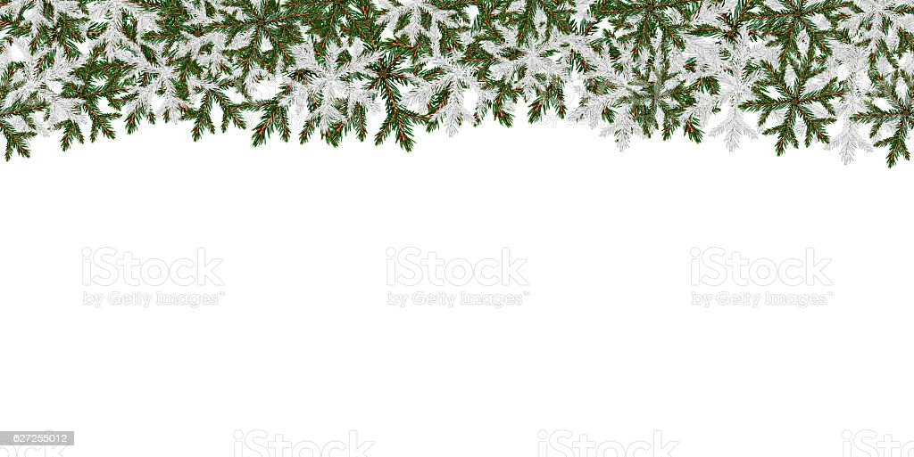 Winter banner pattern with crystallic transparent snowflakes and place for stock photo