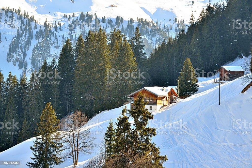Winter barn on snowy mountain stock photo