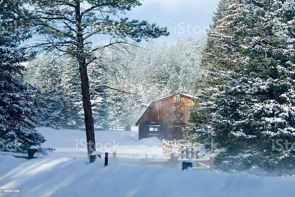 Inverno Barn foto stock royalty-free