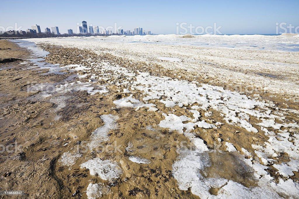 Winter Beach North Shore Chicago stock photo