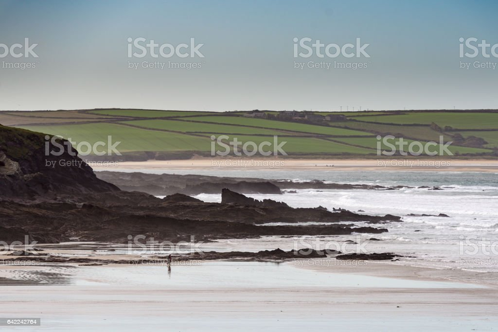 Winter beach scene in Cornwall stock photo