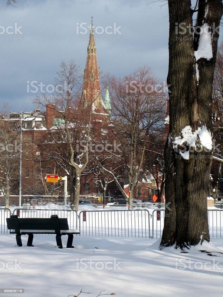 Winter Beacon Hill Charles Street Boston stock photo