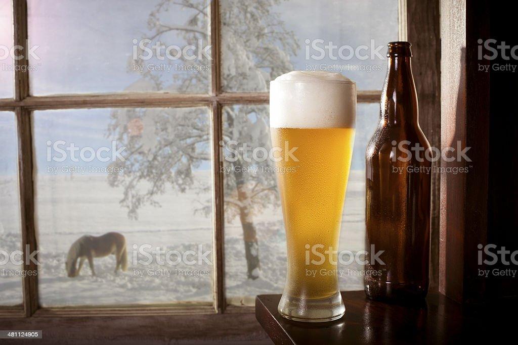 Winter beer stock photo