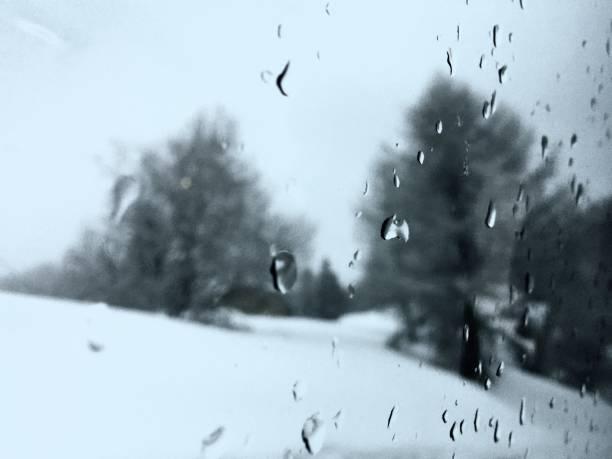Winter behind the window stock photo