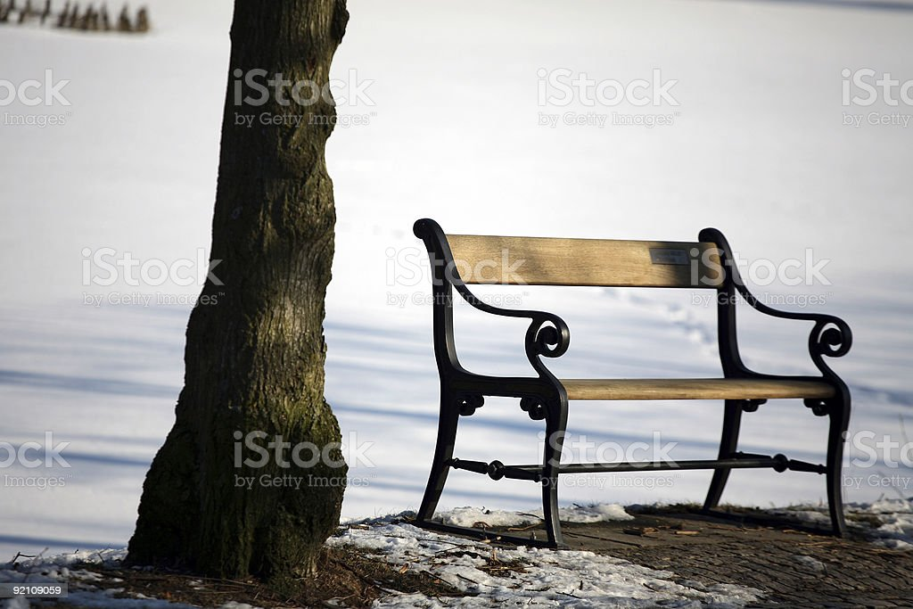 winter bench royalty-free stock photo