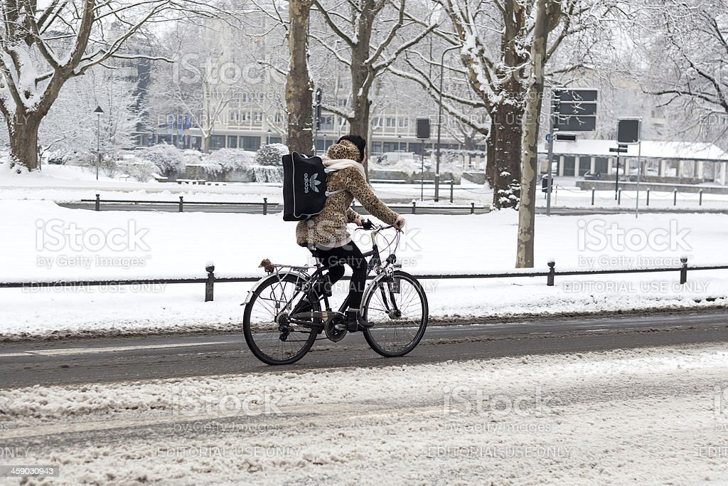 Winter bicycling royalty-free stock photo