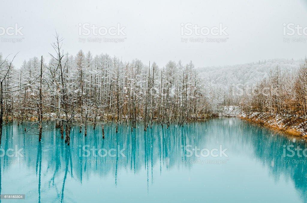 Winter@ Biei Blue Pond stock photo