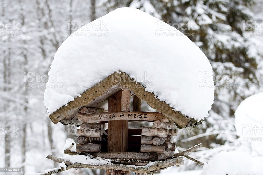 winter bird house royalty-free stock photo