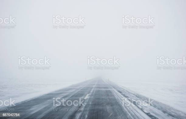 Photo of Winter Blizzard in the driving road in Iceland