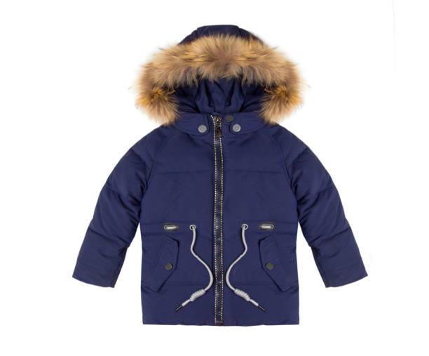 白い背景で隔離のフード付き冬の青ジャケット - ダウンジャケット ストックフォトと画像