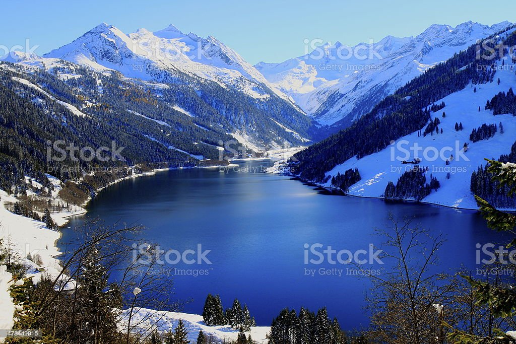 Winter Blue water Mountain Lake in Tirol alps, Austria royalty-free stock photo