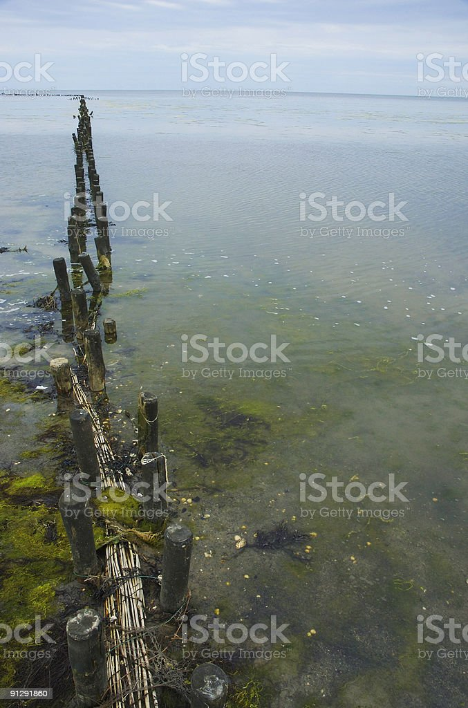 Winter blues pier going into the sea royalty-free stock photo