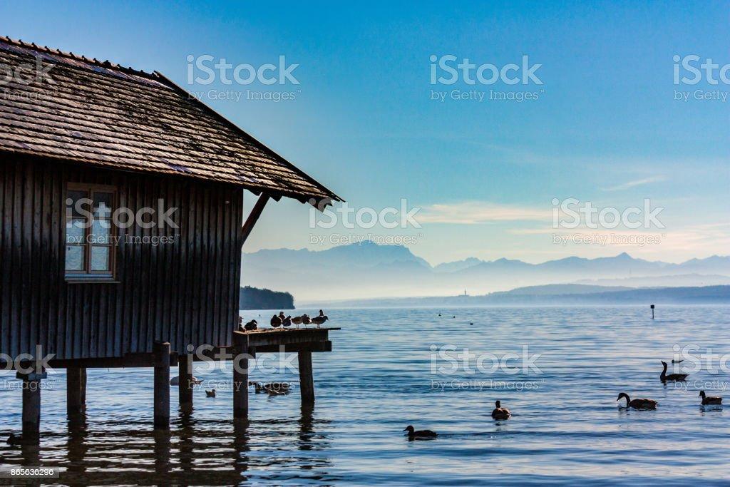 Winter Boat House stock photo