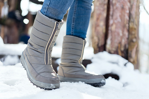 Winter boot on snow
