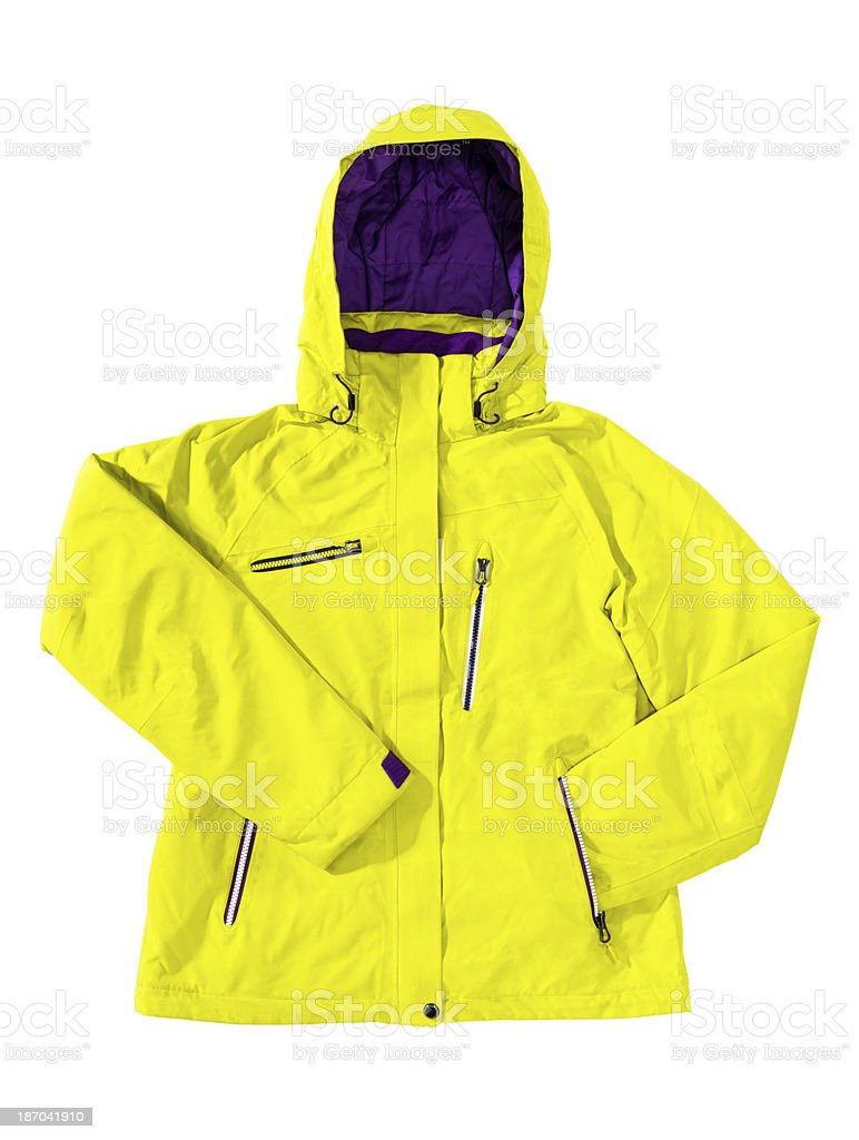 Winter breathable yellow ski jacket isolated on white stock photo