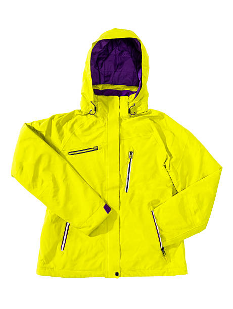Winter breathable yellow ski jacket isolated on white Winter unisex ski jacket, sport jacket, breathable, windproof, waterproof membrane, in yellow and violet color, isolated on white background. waterproof clothing stock pictures, royalty-free photos & images