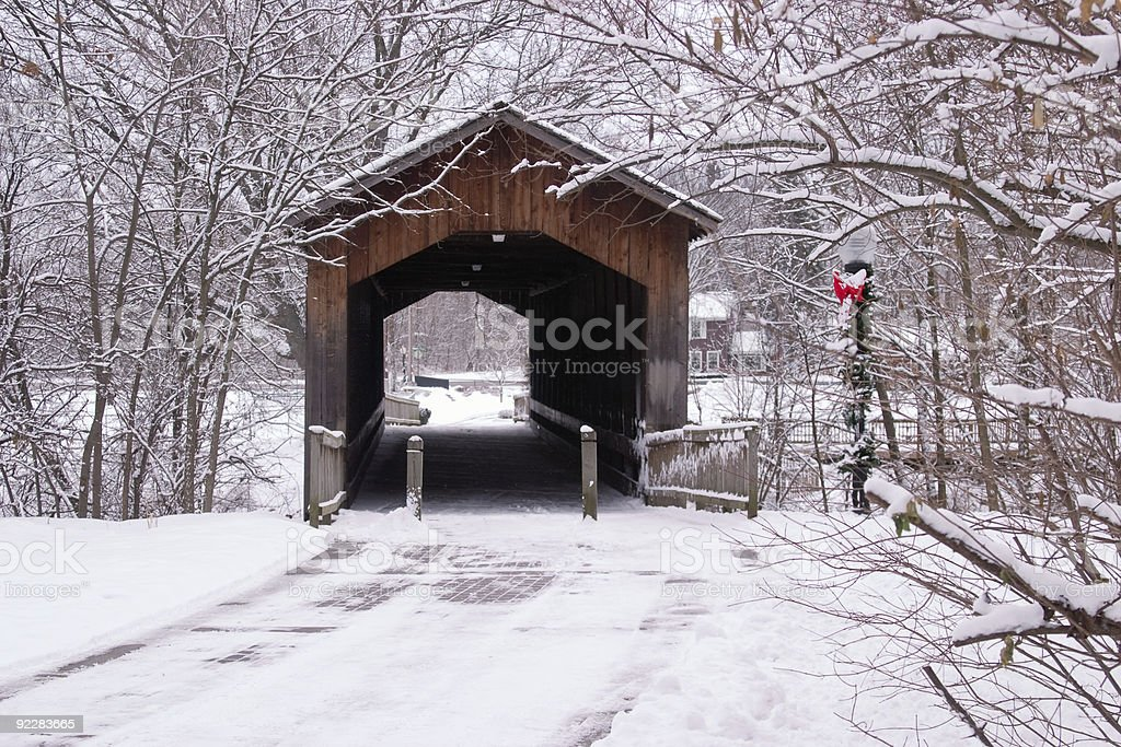 Winter Bridge at Holiday stock photo