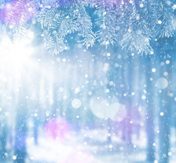 winter hellen hintergrund für karten. - schneeflocke sonnenaufgang stock-fotos und bilder