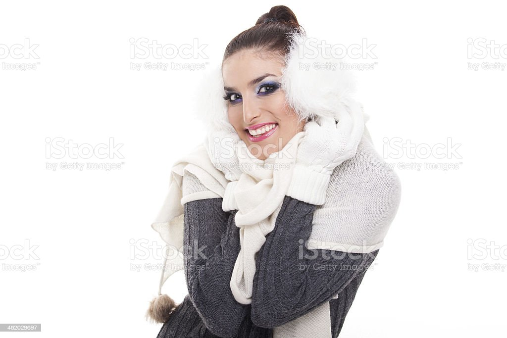 Winter brunette stock photo