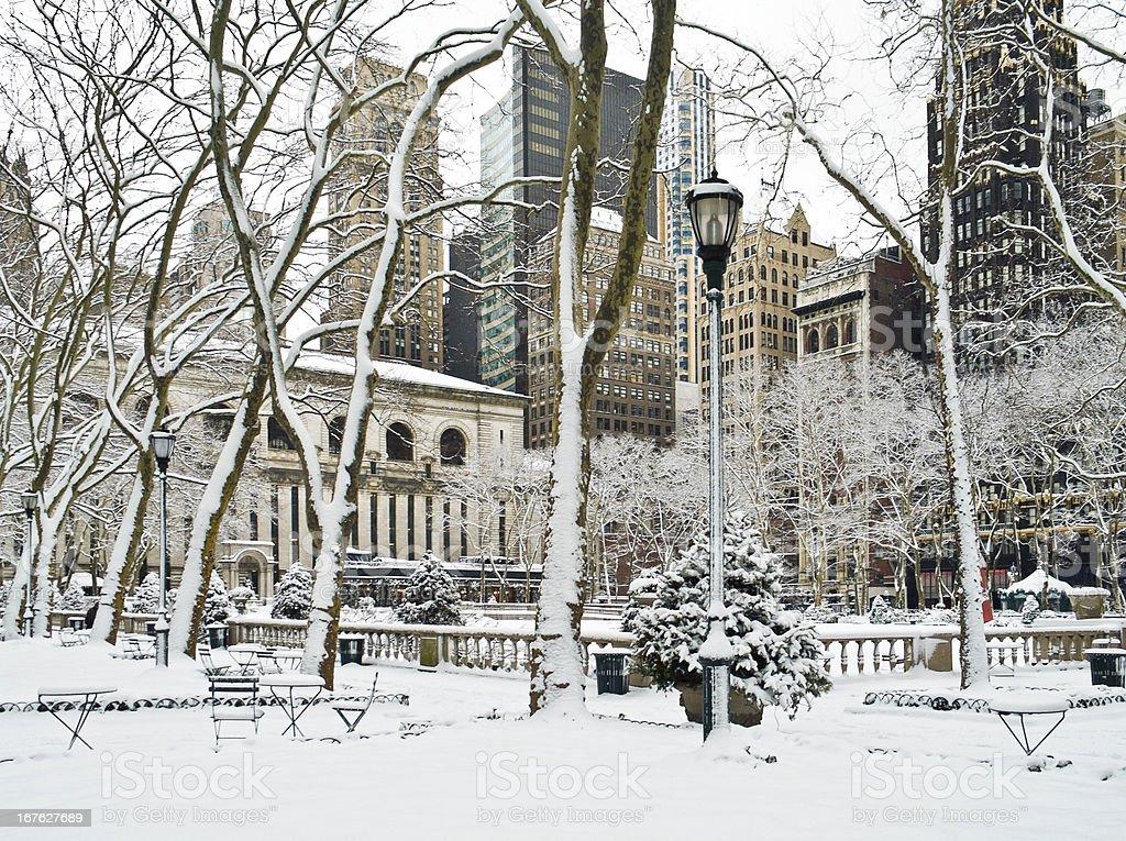 Winter Bryant Park stock photo