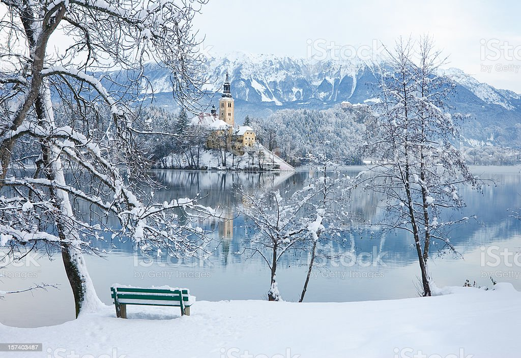 Winter by the Lake Bled stock photo