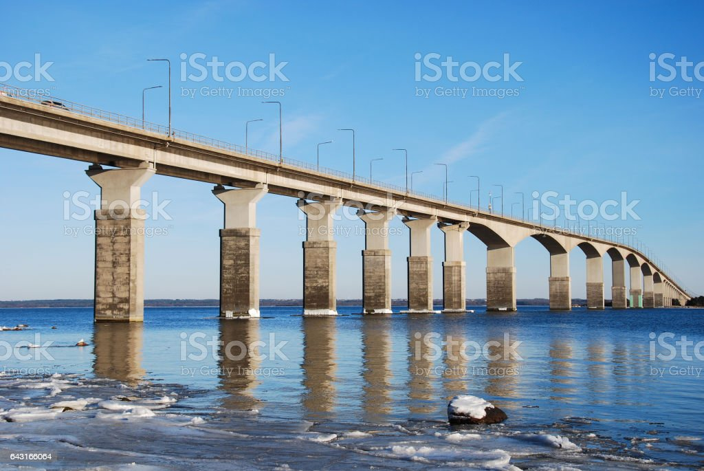 Winter by the Oland Bridge stock photo