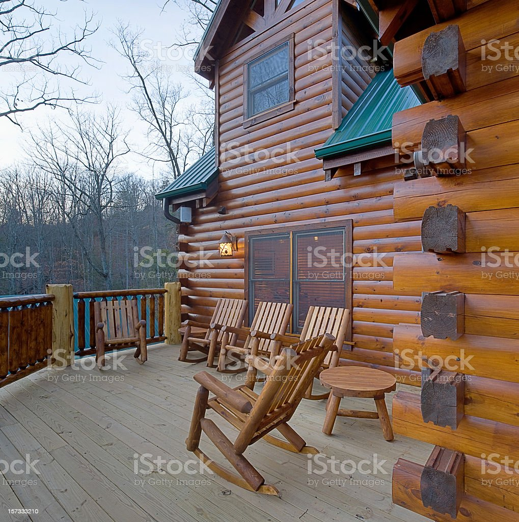 Winter cabin awaits the tourist season (XXL) royalty-free stock photo