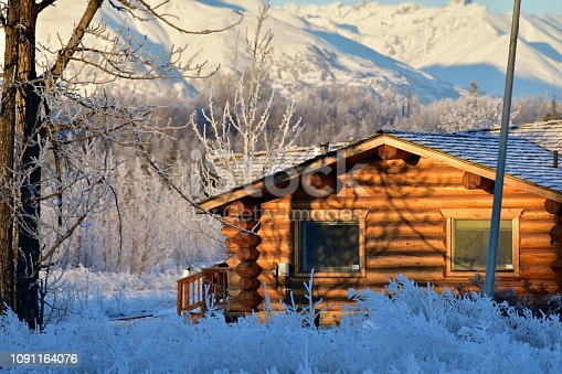 Log cabin in a winter setting.
