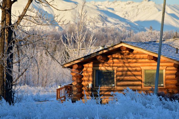 Winter cabin stock photo
