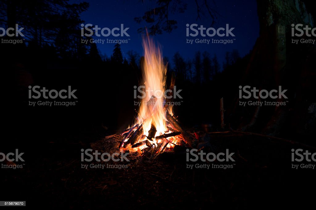 Winter Campfire and Lake at night stock photo