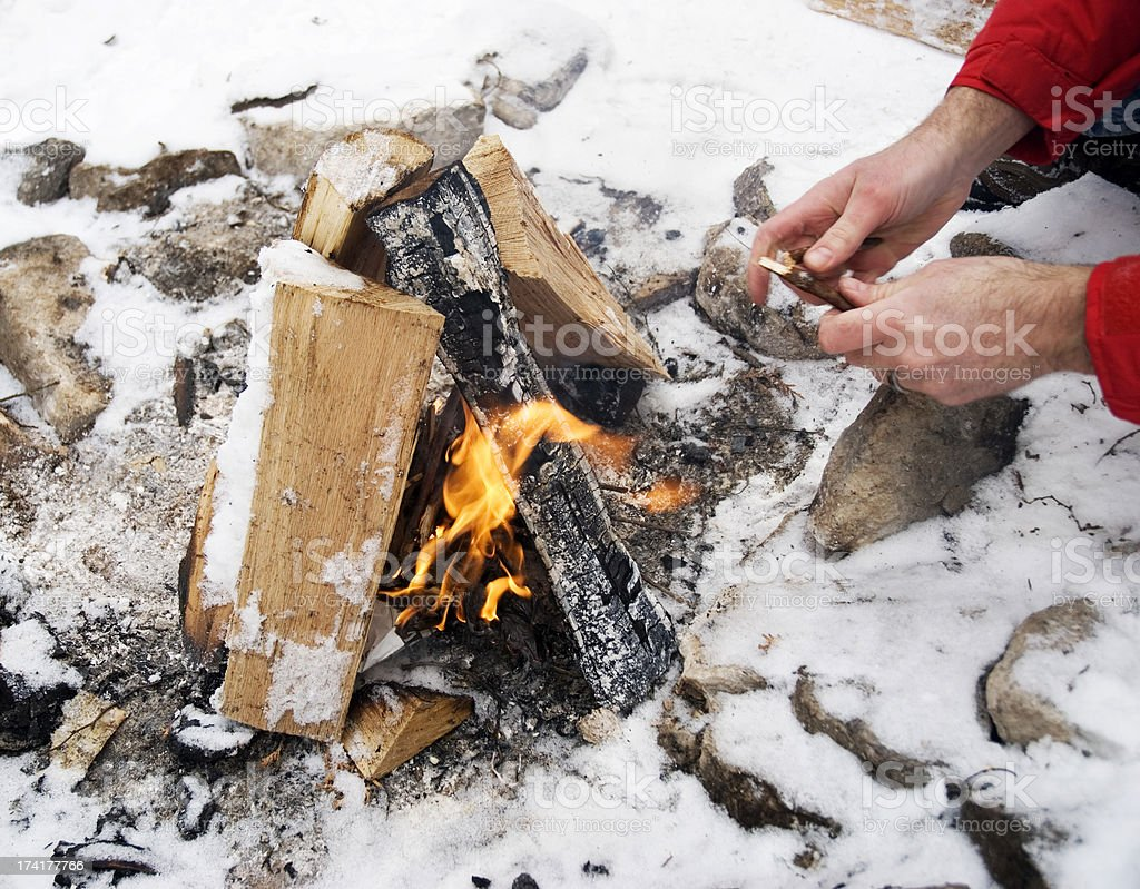 Winter Campfire royalty-free stock photo