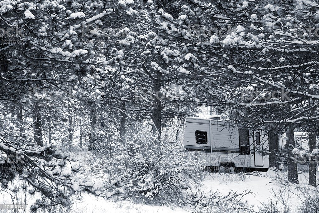 Winter Camping in Pike National Forest royalty-free stock photo