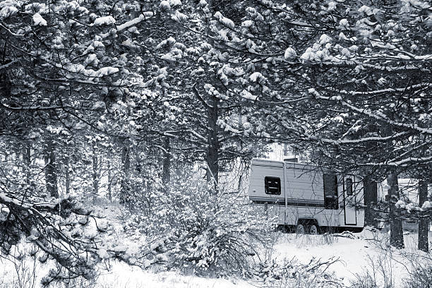 Winter Camping in Pike National Forest stock photo