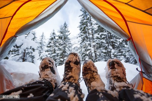Winter camping on snow