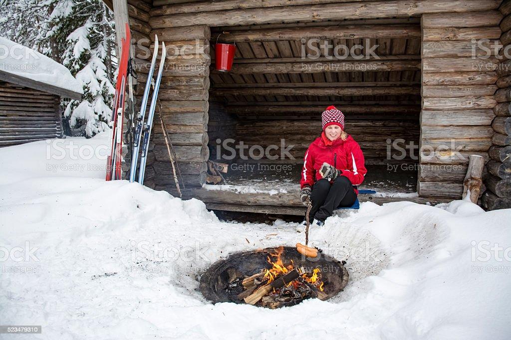 Winter camping stock photo