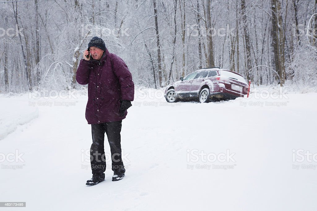 Winter car accident: calling for help full length stock photo