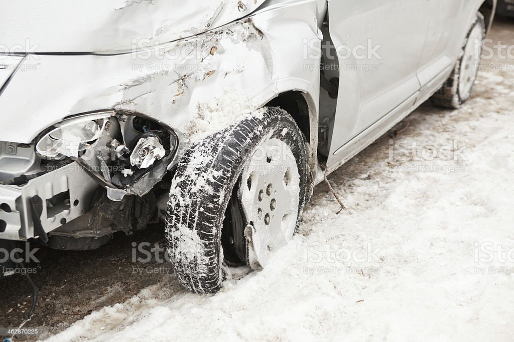 Winter Car Accident – Vehicle with Damaged Front royalty-free stock photo