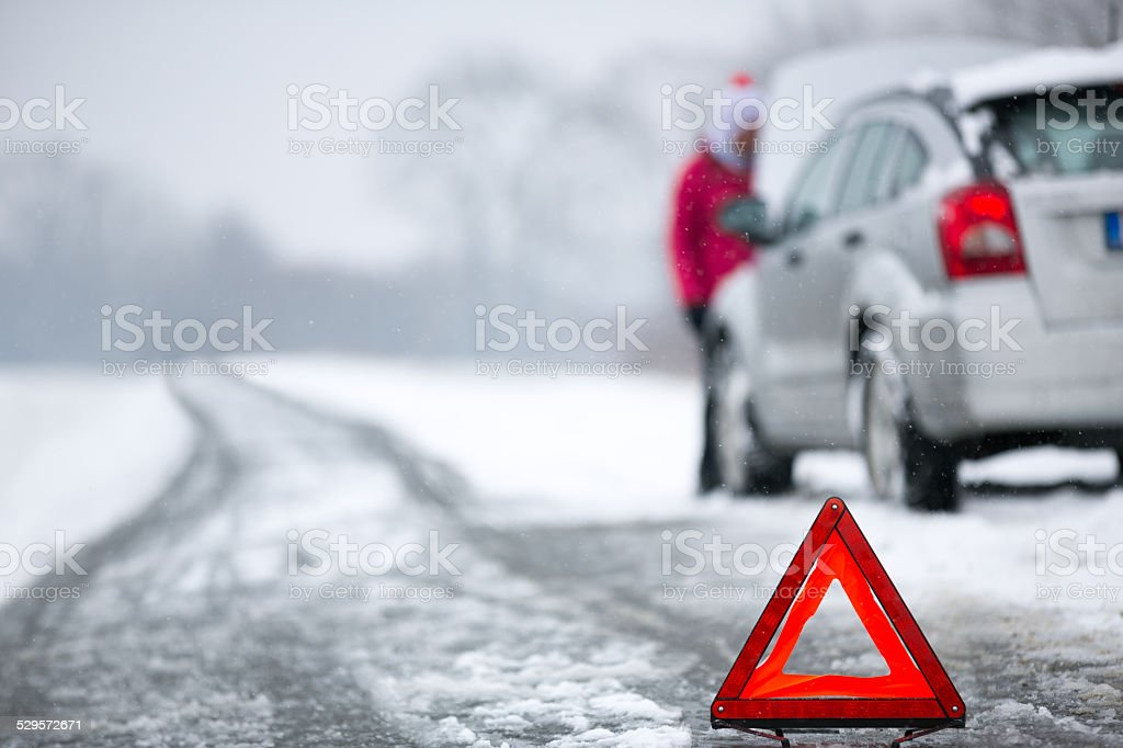 Winter car breakdown stock photo