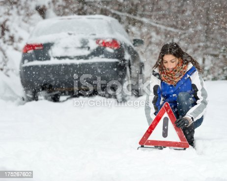 istock Winter Car Breakdown, Woman Warning Triangle, Snowstorm 175267602