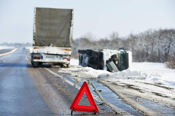 winter car crash stock photo