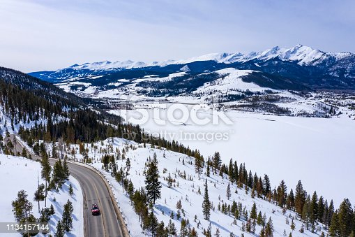 Winter Car Driving Highway Aerial Leaving Breckenridge Frisco Area Ski Resorts