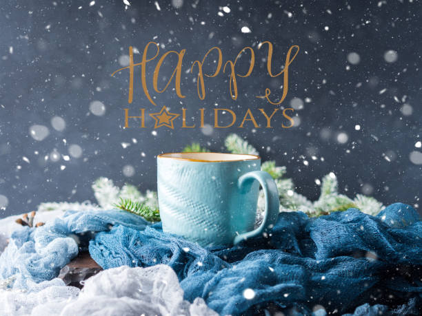 winter card with coffee wishing happy holidays - happy holidays stock pictures, royalty-free photos & images