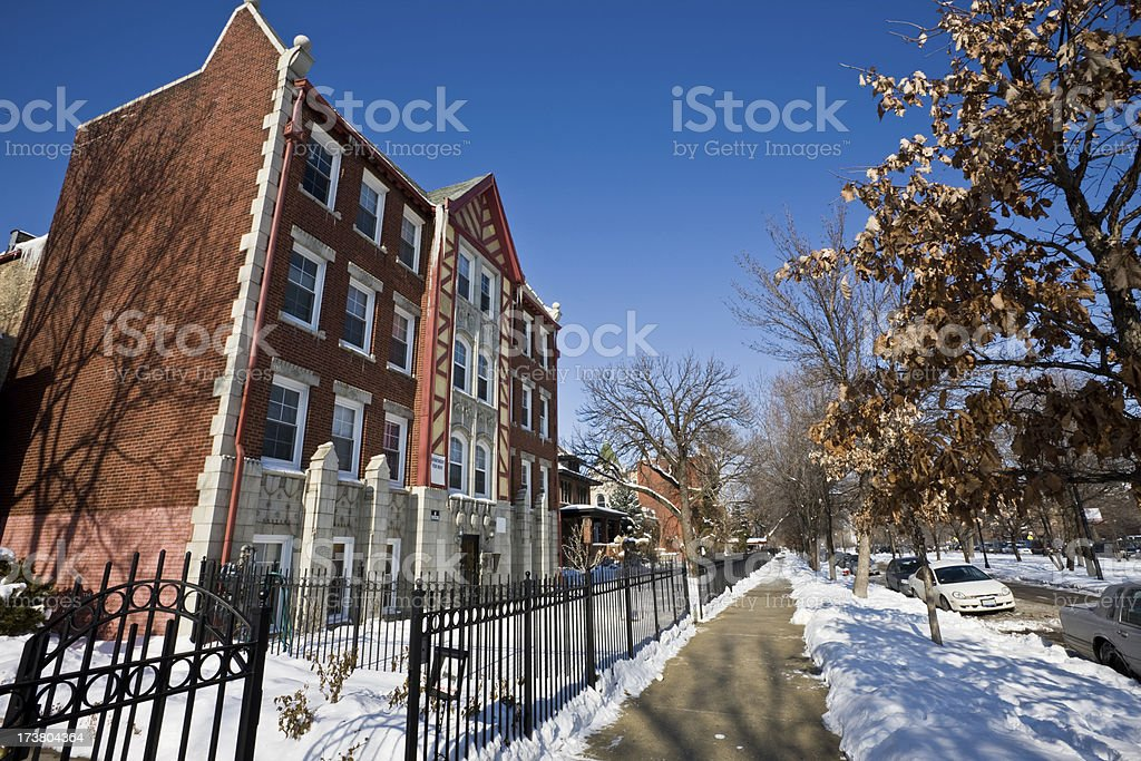 Winter Chicago Apartments and Street royalty-free stock photo