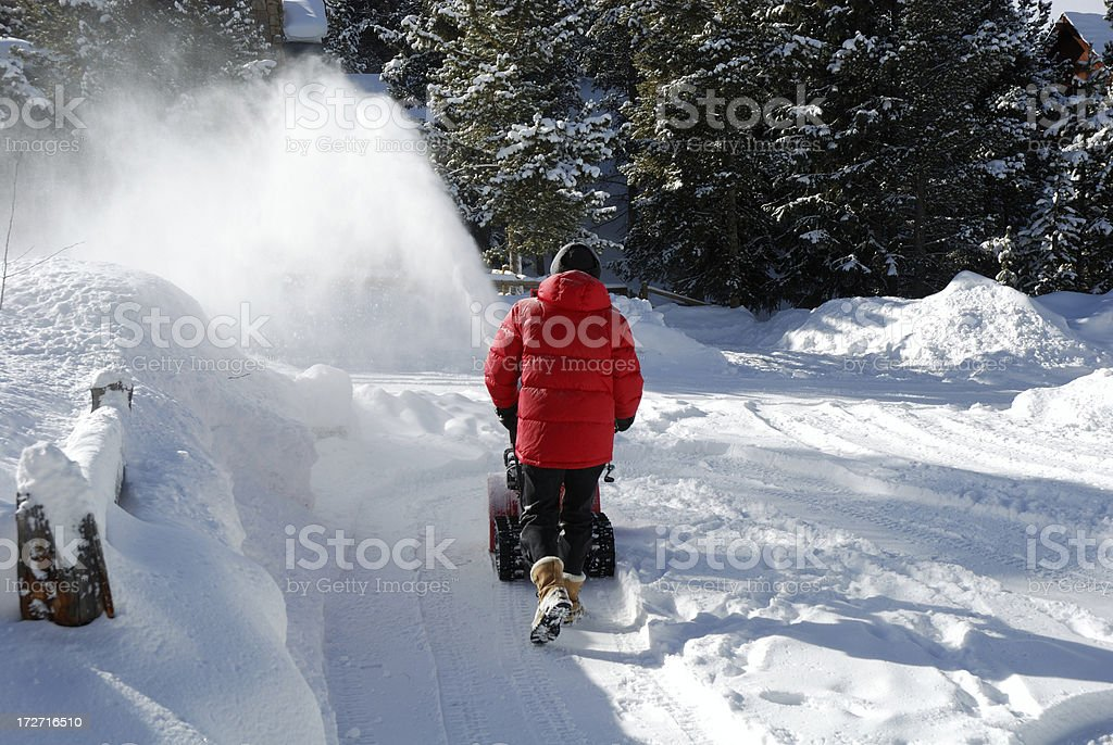 Winter Chores in the Mountains stock photo
