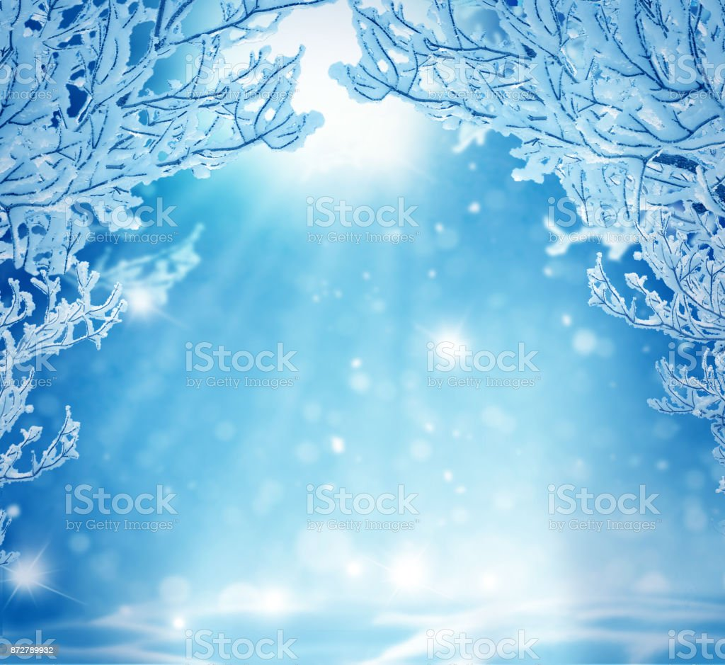 Winter Christmas Backgroundnew Year Greeting Card With ...
