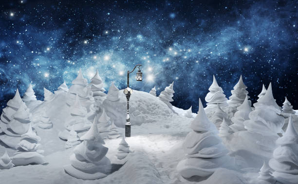 Winter. Christmas greeting card template 3d rendered illustration. Merry Christmas. Winter holiday landscape with snowdrifts and snowy fir trees. Ice nature background.