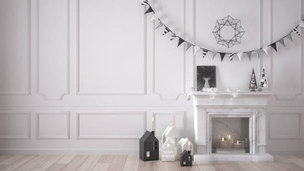 winter, weihnachten, neujahr innenarchitektur mit kamin und dekor, weiße modernen minimalen architektur - kamin weiß stock-fotos und bilder
