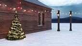 Winter scene of a Christmas tree