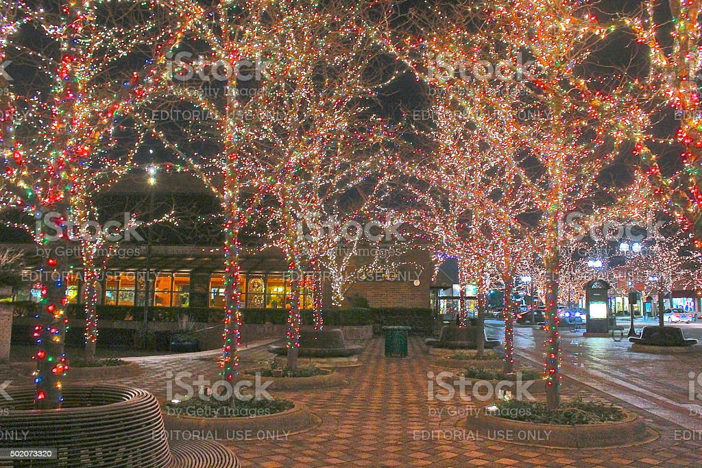 Winter Christmas-Hanukkah holiday outdoor lights on trees downtown stock photo